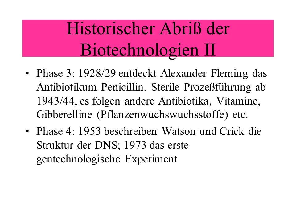 Historischer Abriß der Biotechnologien II Phase 3: 1928/29 entdeckt Alexander Fleming das Antibiotikum Penicillin. Sterile Prozeßführung ab 1943/44, e