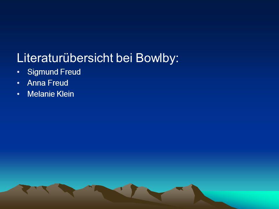 Literaturübersicht bei Bowlby: Sigmund Freud Anna Freud Melanie Klein Alice Balint Michael Balint D.W.