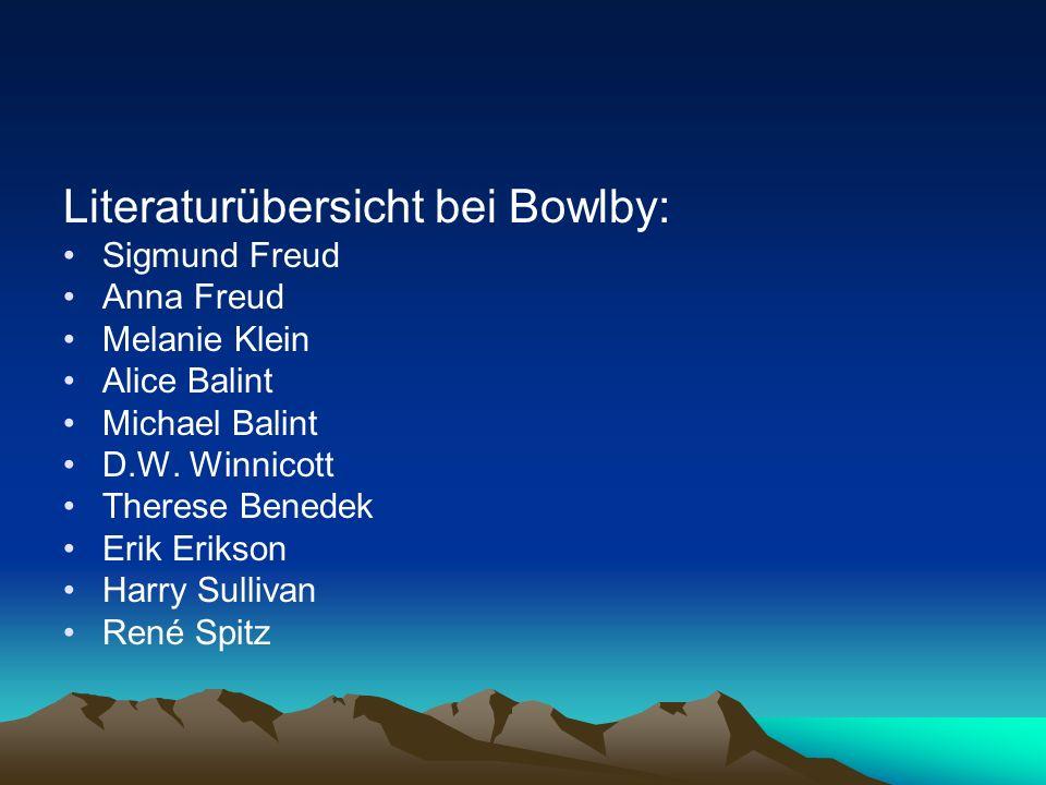 Literaturübersicht bei Bowlby: Sigmund Freud Anna Freud Melanie Klein Alice Balint Michael Balint D.W. Winnicott Therese Benedek Erik Erikson Harry Su