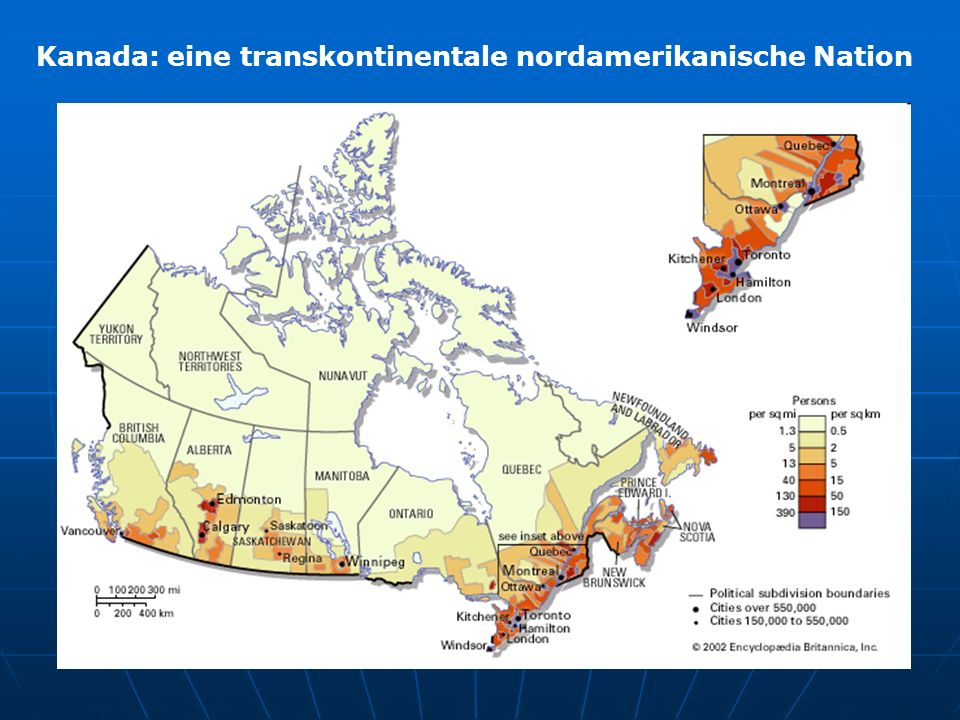 Kanada: eine transkontinentale nordamerikanische Nation Selected trend data for Canada, 2006, 2001 and 1996 censuses