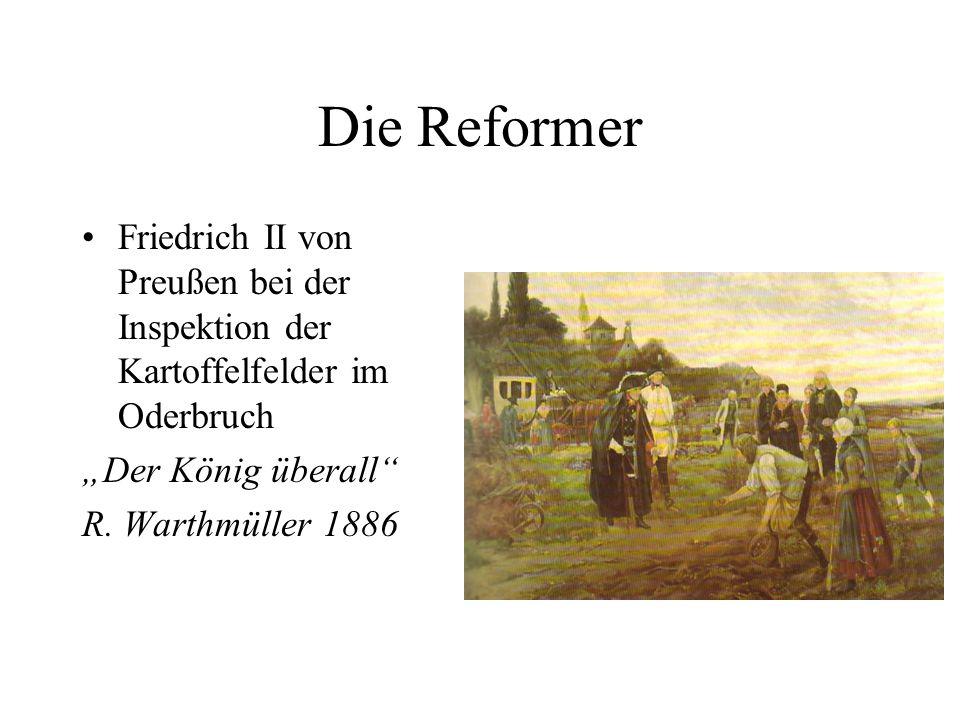 Die Reformer Friedrich II von Preußen bei der Inspektion der Kartoffelfelder im Oderbruch Der König überall R. Warthmüller 1886