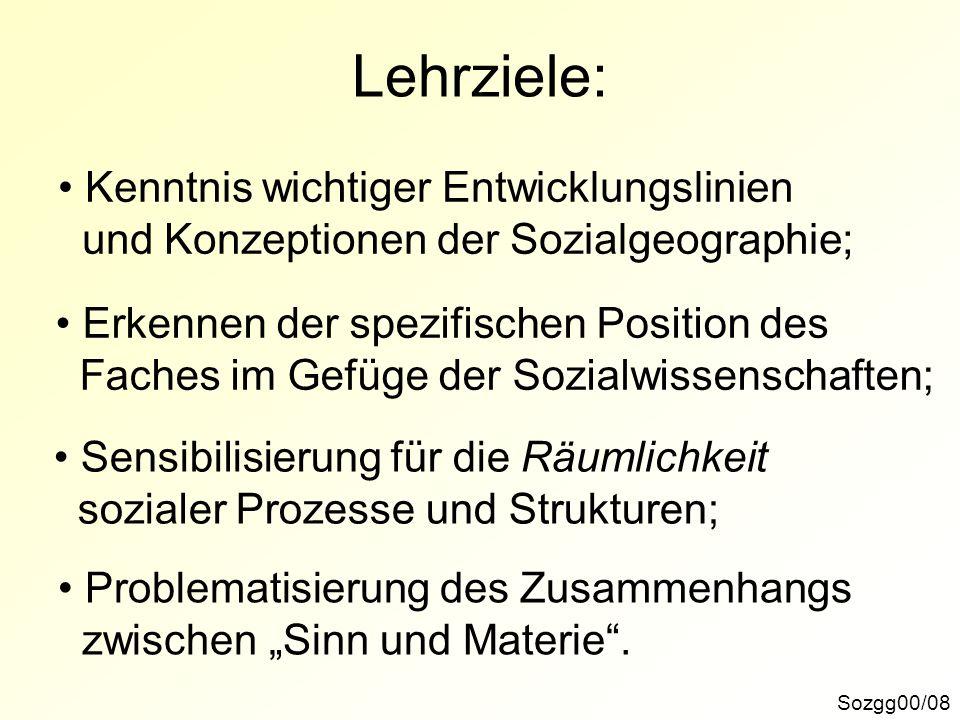 Inhaltsgliederung: Sozgg00/09 M01: Die Begründung der Sozialgeographie: Der Entwurf von H.
