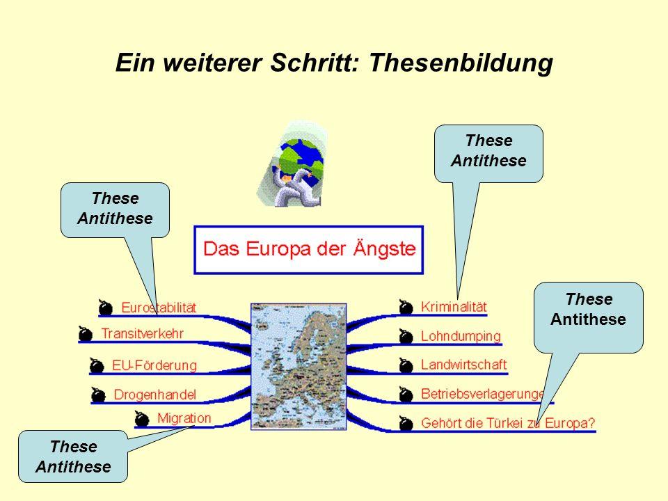 Ein weiterer Schritt: Thesenbildung These Antithese These Antithese These Antithese These Antithese