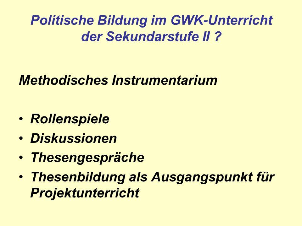 Methodisches Instrumentarium Rollenspiele Diskussionen Thesengespräche Thesenbildung als Ausgangspunkt für Projektunterricht