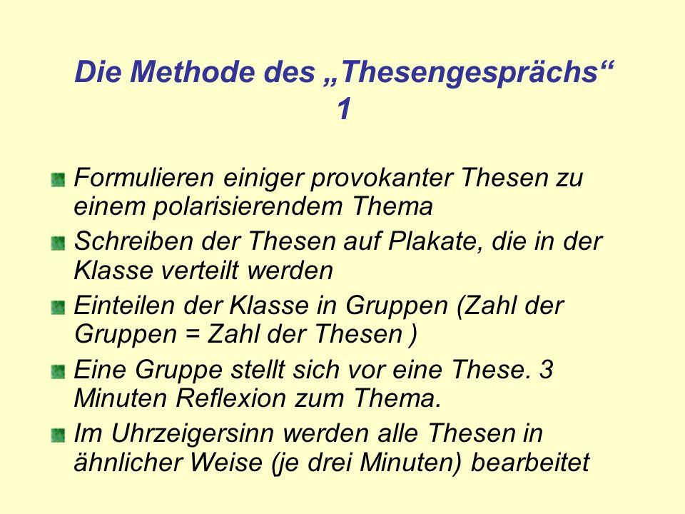 Die Methode des Thesengesprächs 1 Formulieren einiger provokanter Thesen zu einem polarisierendem Thema Schreiben der Thesen auf Plakate, die in der K