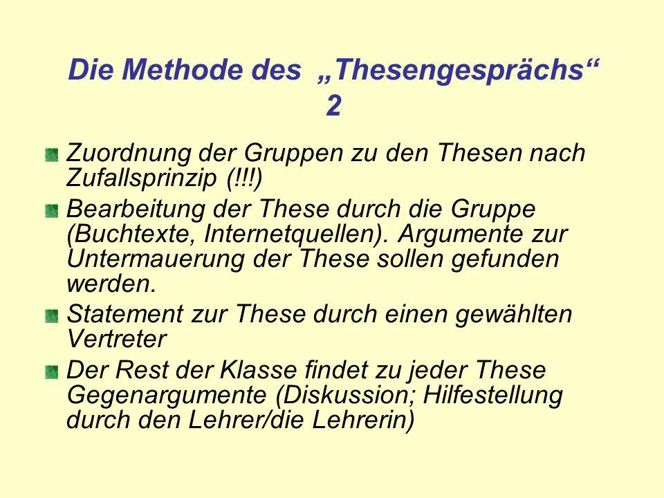 Die Methode des Thesengesprächs 2 Zuordnung der Gruppen zu den Thesen nach Zufallsprinzip (!!!) Bearbeitung der These durch die Gruppe (Buchtexte, Int