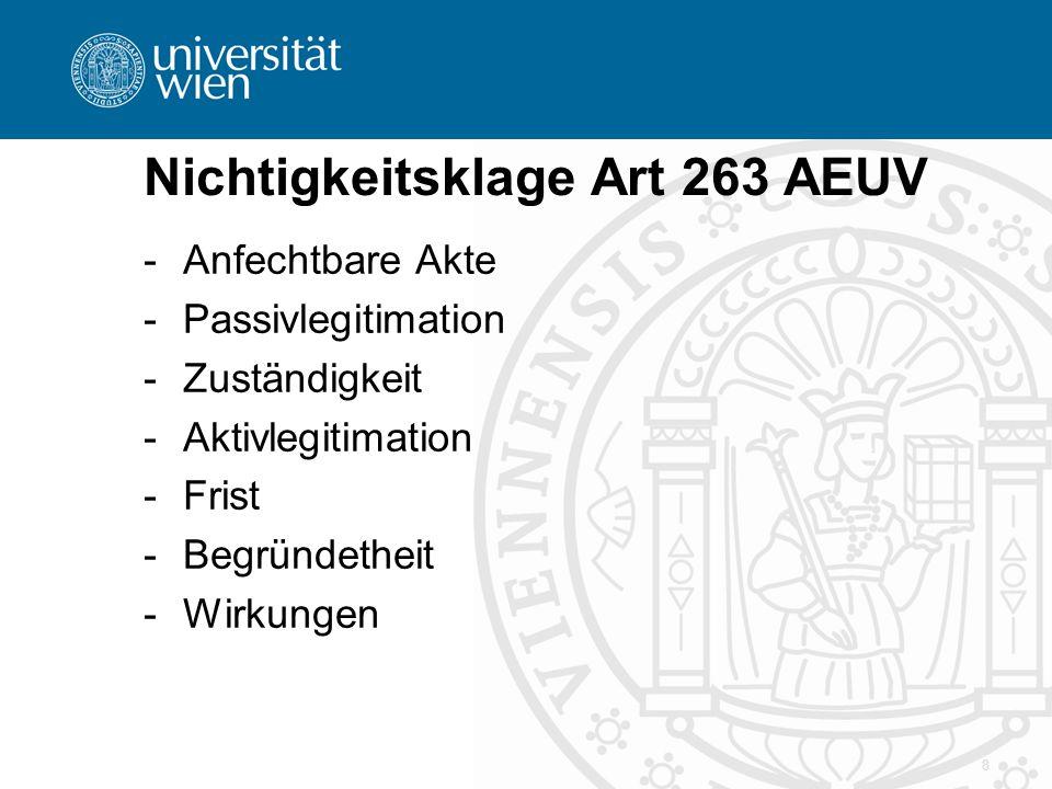 Nichtigkeitsklage Art 263 AEUV -A-Anfechtbare Akte -P-Passivlegitimation -Z-Zuständigkeit -A-Aktivlegitimation -F-Frist -B-Begründetheit -W-Wirkungen 8