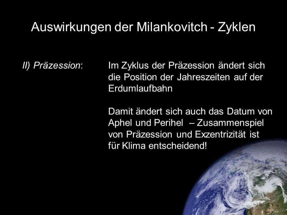 Auswirkungen der Milankovitch - Zyklen II) Präzession:Im Zyklus der Präzession ändert sich die Position der Jahreszeiten auf der Erdumlaufbahn Damit ä