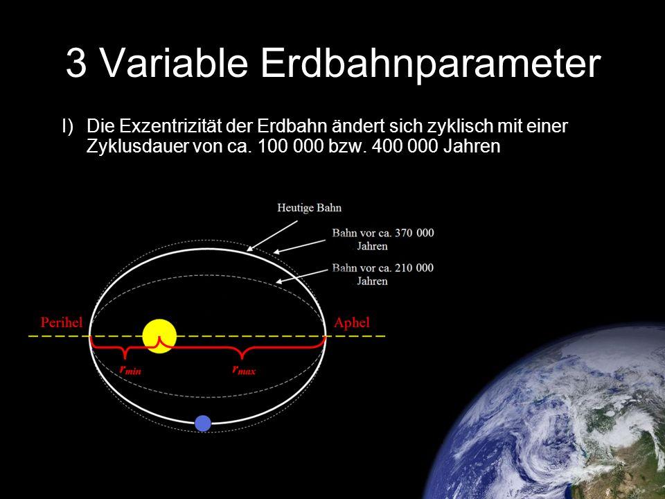 3 Variable Erdbahnparameter I) Die Exzentrizität der Erdbahn ändert sich zyklisch mit einer Zyklusdauer von ca. 100 000 bzw. 400 000 Jahren