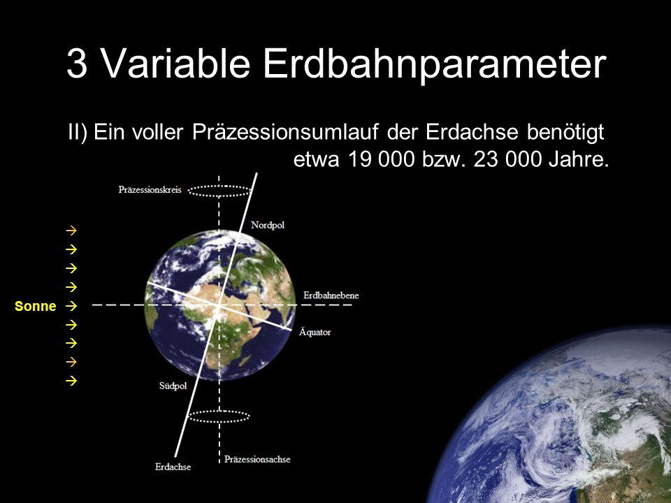 3 Variable Erdbahnparameter II) Ein voller Präzessionsumlauf der Erdachse benötigt etwa 19 000 bzw. 23 000 Jahre. Sonne