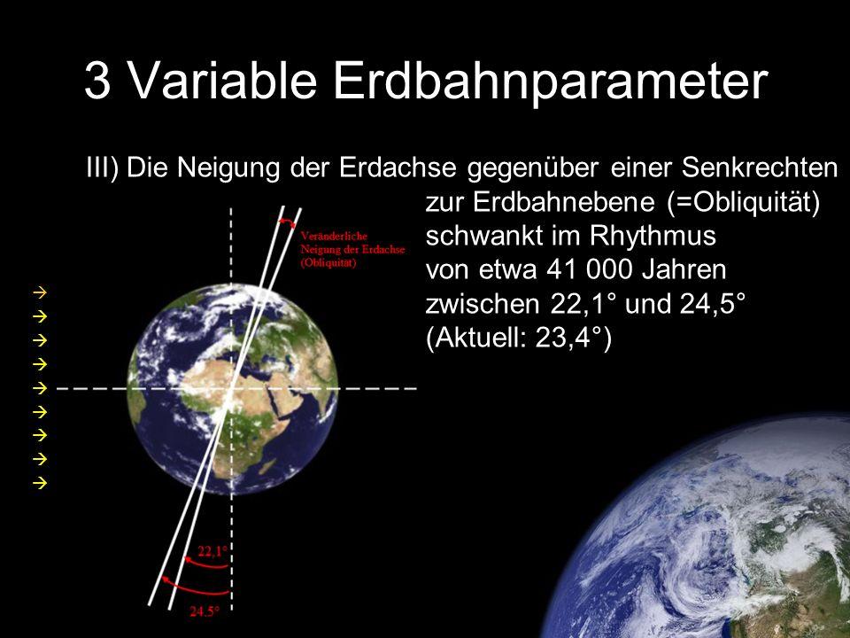 3 Variable Erdbahnparameter III) Die Neigung der Erdachse gegenüber einer Senkrechten zur Erdbahnebene (=Obliquität) schwankt im Rhythmus von etwa 41