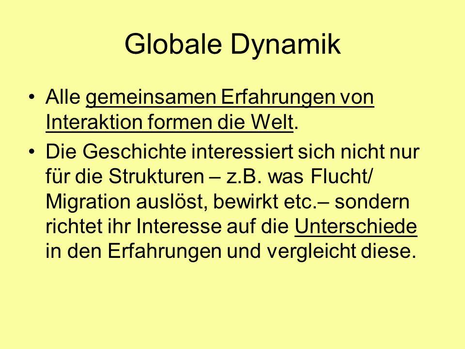 Globale Dynamik Alle gemeinsamen Erfahrungen von Interaktion formen die Welt. Die Geschichte interessiert sich nicht nur für die Strukturen – z.B. was