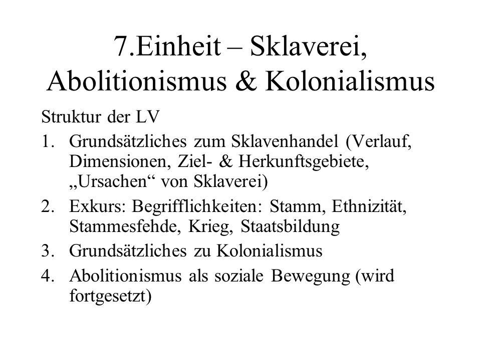 7.Einheit – Sklaverei, Abolitionismus & Kolonialismus Struktur der LV 1.Grundsätzliches zum Sklavenhandel (Verlauf, Dimensionen, Ziel- & Herkunftsgebi