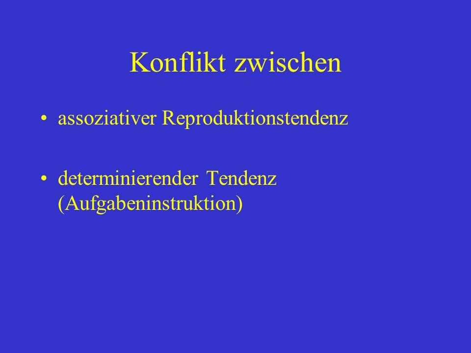 Konflikt zwischen assoziativer Reproduktionstendenz determinierender Tendenz (Aufgabeninstruktion)