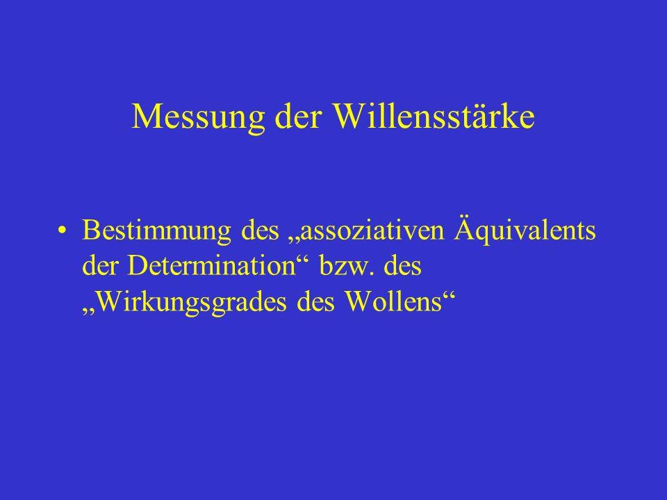 Messung der Willensstärke Bestimmung des assoziativen Äquivalents der Determination bzw.