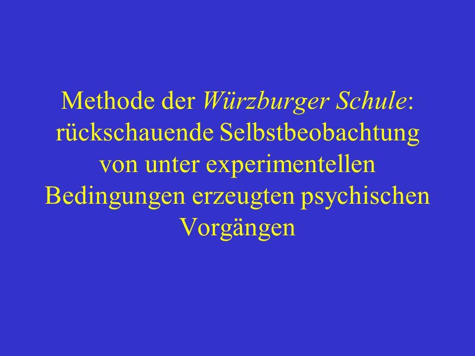 Methode der Würzburger Schule: rückschauende Selbstbeobachtung von unter experimentellen Bedingungen erzeugten psychischen Vorgängen