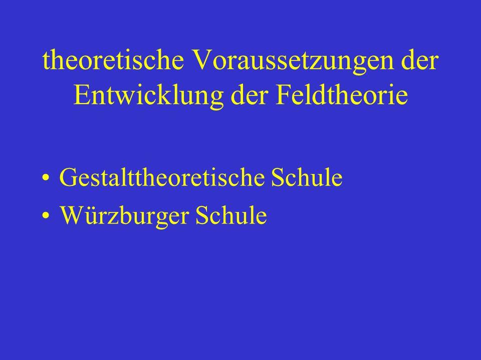 theoretische Voraussetzungen der Entwicklung der Feldtheorie Gestalttheoretische Schule Würzburger Schule