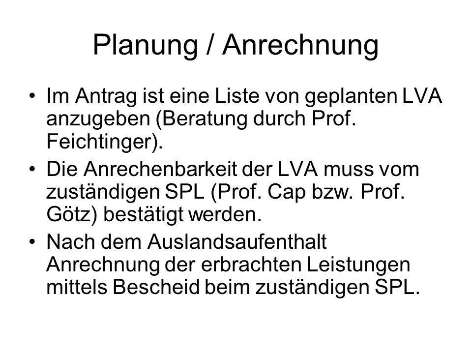 Planung / Anrechnung Im Antrag ist eine Liste von geplanten LVA anzugeben (Beratung durch Prof.