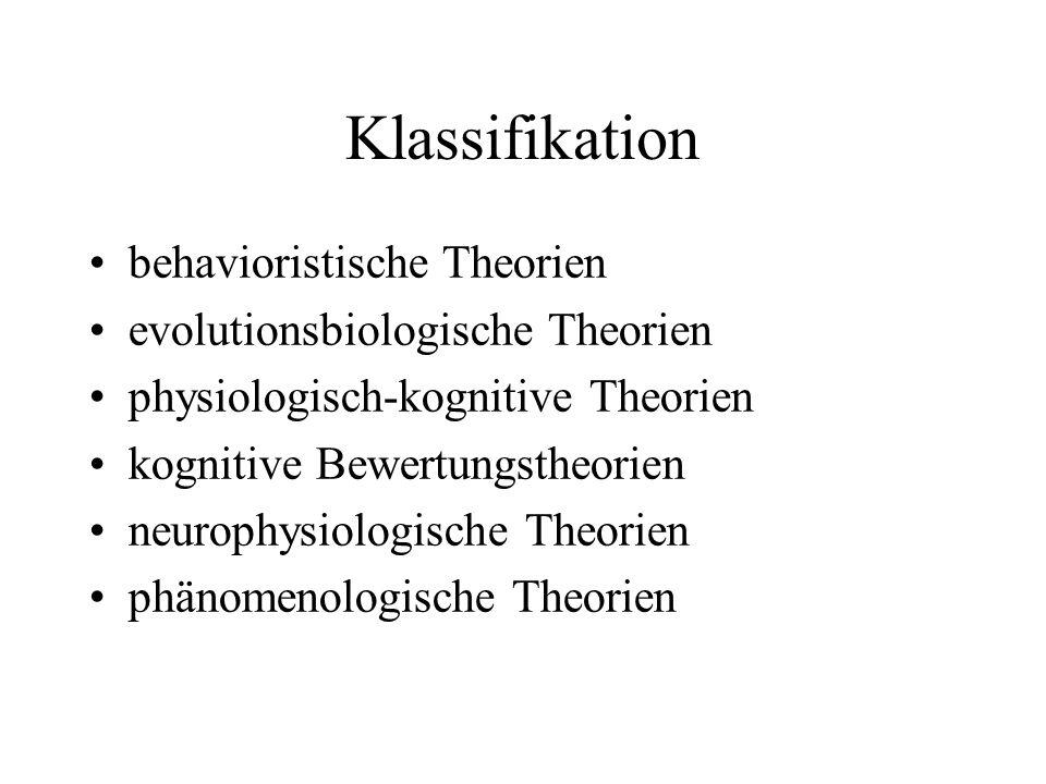 Klassifikation behavioristische Theorien evolutionsbiologische Theorien physiologisch-kognitive Theorien kognitive Bewertungstheorien neurophysiologische Theorien phänomenologische Theorien