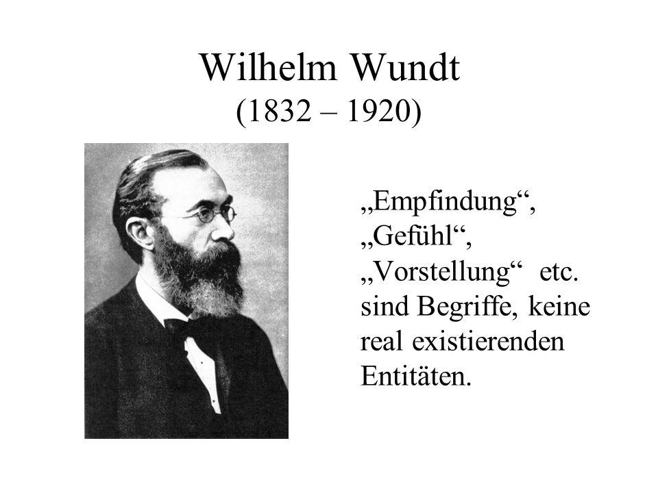 Wilhelm Wundt (1832 – 1920) Empfindung, Gefühl, Vorstellung etc.