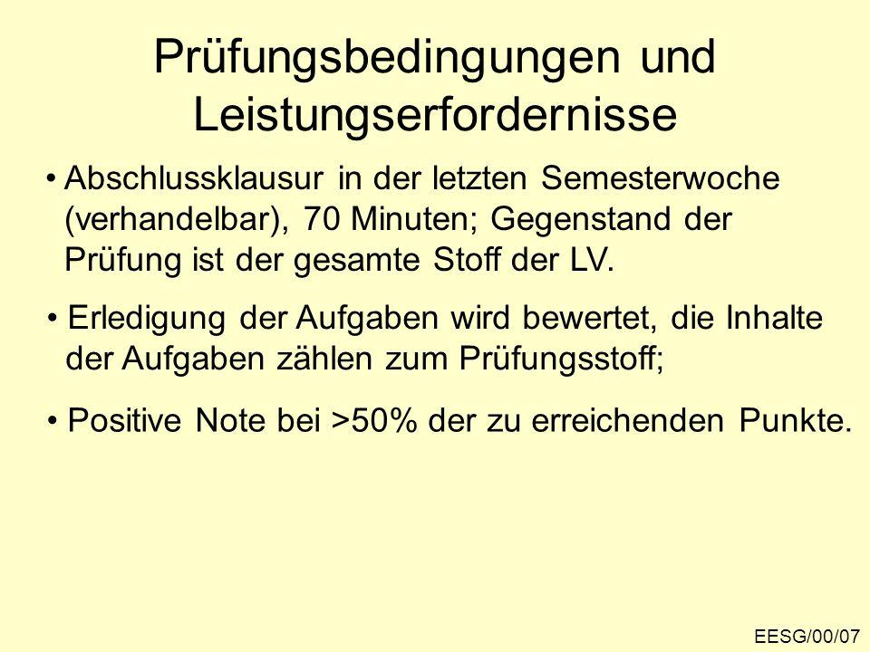 EESG/00/07 Prüfungsbedingungen und Leistungserfordernisse Abschlussklausur in der letzten Semesterwoche (verhandelbar), 70 Minuten; Gegenstand der Prü