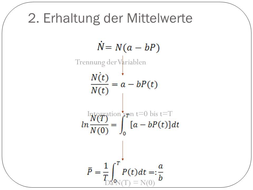 2. Erhaltung der Mittelwerte Trennung der Variablen Integration von t=0 bis t=T Da N(T) = N(0)