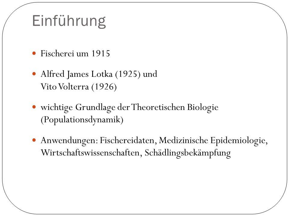 Einführung Fischerei um 1915 Alfred James Lotka (1925) und Vito Volterra (1926) wichtige Grundlage der Theoretischen Biologie (Populationsdynamik) Anw