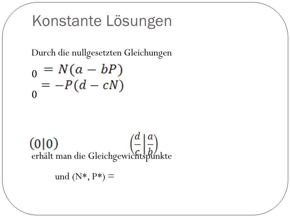 Konstante Lösungen Durch die nullgesetzten Gleichungen 0 erhält man die Gleichgewichtspunkte und (N*, P*) =