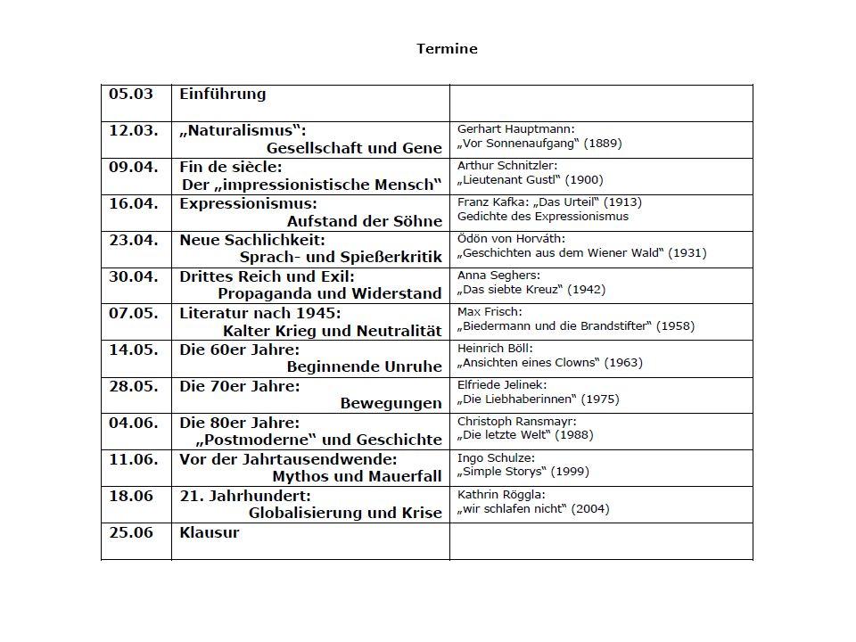 Zur Vorbereitung: Geschichte der deutschen Literatur.