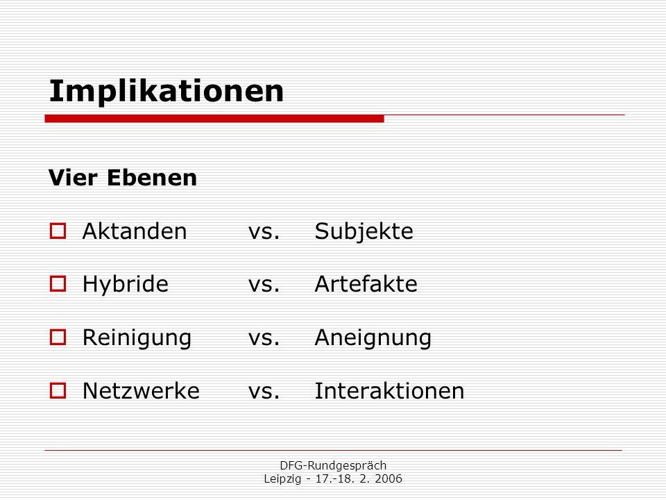 DFG-Rundgespräch Leipzig - 17.-18. 2. 2006 Implikationen Vier Ebenen Aktanden vs. Subjekte Hybride vs. Artefakte Reinigung vs. Aneignung Netzwerke vs.