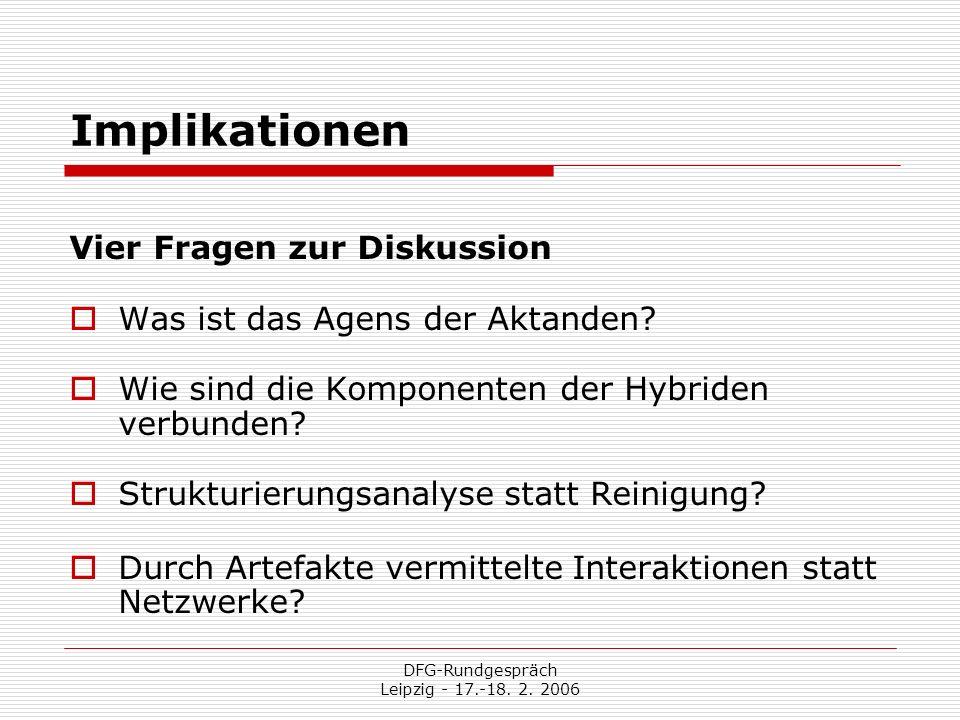 DFG-Rundgespräch Leipzig - 17.-18. 2. 2006 Implikationen Vier Fragen zur Diskussion Was ist das Agens der Aktanden? Wie sind die Komponenten der Hybri