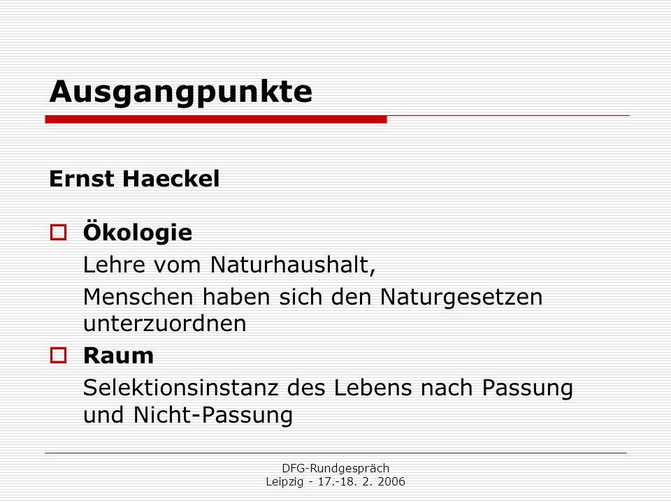 DFG-Rundgespräch Leipzig - 17.-18. 2. 2006 Ausgangpunkte Ernst Haeckel Ökologie Lehre vom Naturhaushalt, Menschen haben sich den Naturgesetzen unterzu