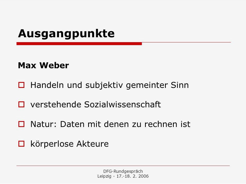 DFG-Rundgespräch Leipzig - 17.-18. 2. 2006 Ausgangpunkte Max Weber Handeln und subjektiv gemeinter Sinn verstehende Sozialwissenschaft Natur: Daten mi