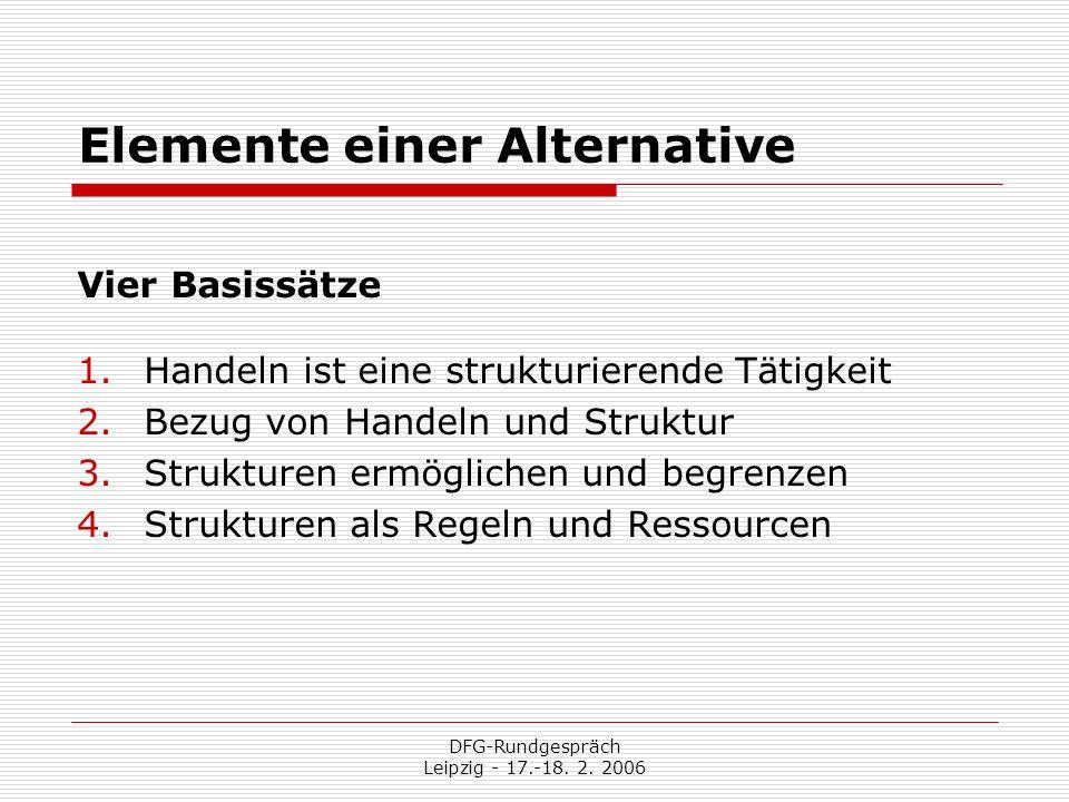 DFG-Rundgespräch Leipzig - 17.-18. 2. 2006 Elemente einer Alternative Vier Basissätze 1.Handeln ist eine strukturierende Tätigkeit 2.Bezug von Handeln