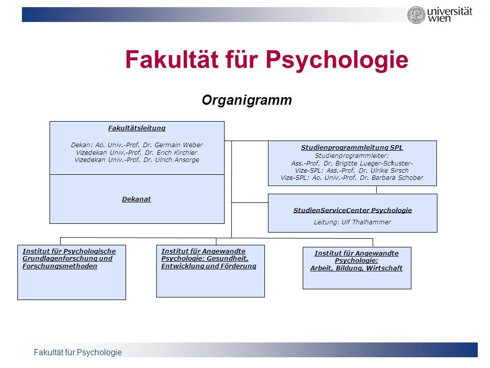 Fakultät für Psychologie Fakultätsleitung Dekan: Ao. Univ.-Prof. Dr. Germain Weber Vizedekan Univ.-Prof. Dr. Erich Kirchler Vizedekan Univ.-Prof. Dr.