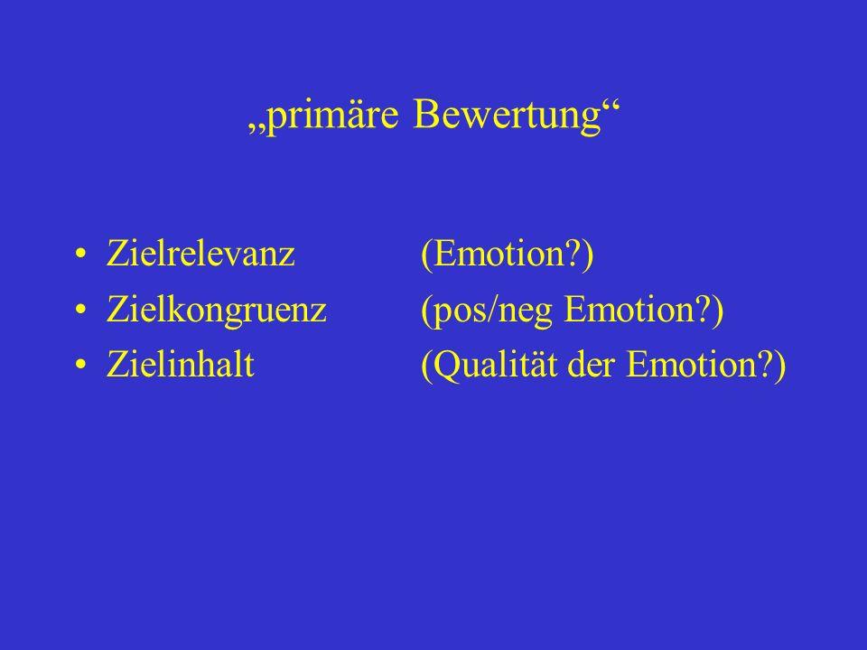 primäre Bewertung Zielrelevanz(Emotion?) Zielkongruenz(pos/neg Emotion?) Zielinhalt(Qualität der Emotion?)