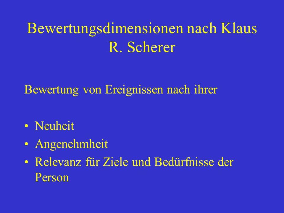 Bewertungsdimensionen nach Klaus R. Scherer Bewertung von Ereignissen nach ihrer Neuheit Angenehmheit Relevanz für Ziele und Bedürfnisse der Person