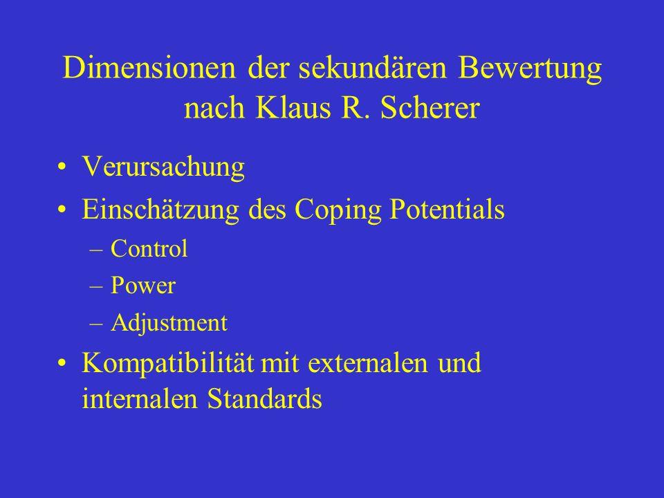 Dimensionen der sekundären Bewertung nach Klaus R. Scherer Verursachung Einschätzung des Coping Potentials –Control –Power –Adjustment Kompatibilität