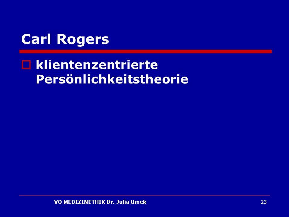 VO MEDIZINETHIK Dr. Julia Umek23 Carl Rogers klientenzentrierte Persönlichkeitstheorie