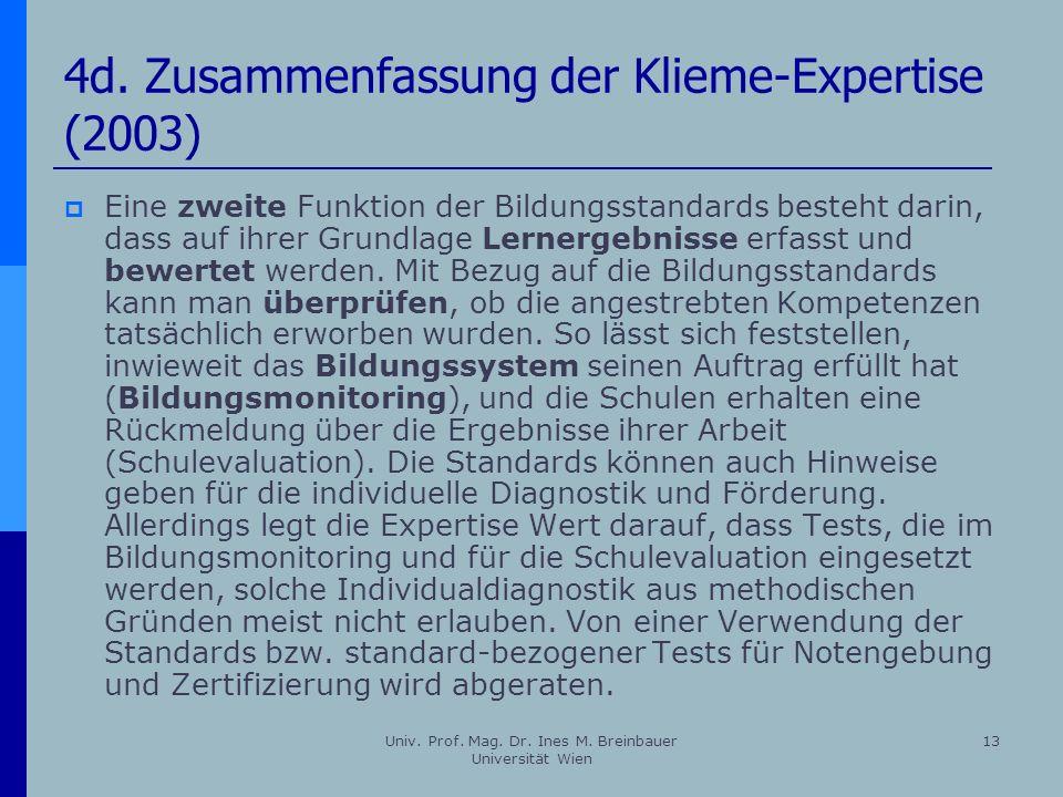 Univ. Prof. Mag. Dr. Ines M. Breinbauer Universität Wien 13 4d. Zusammenfassung der Klieme-Expertise (2003) Eine zweite Funktion der Bildungsstandards