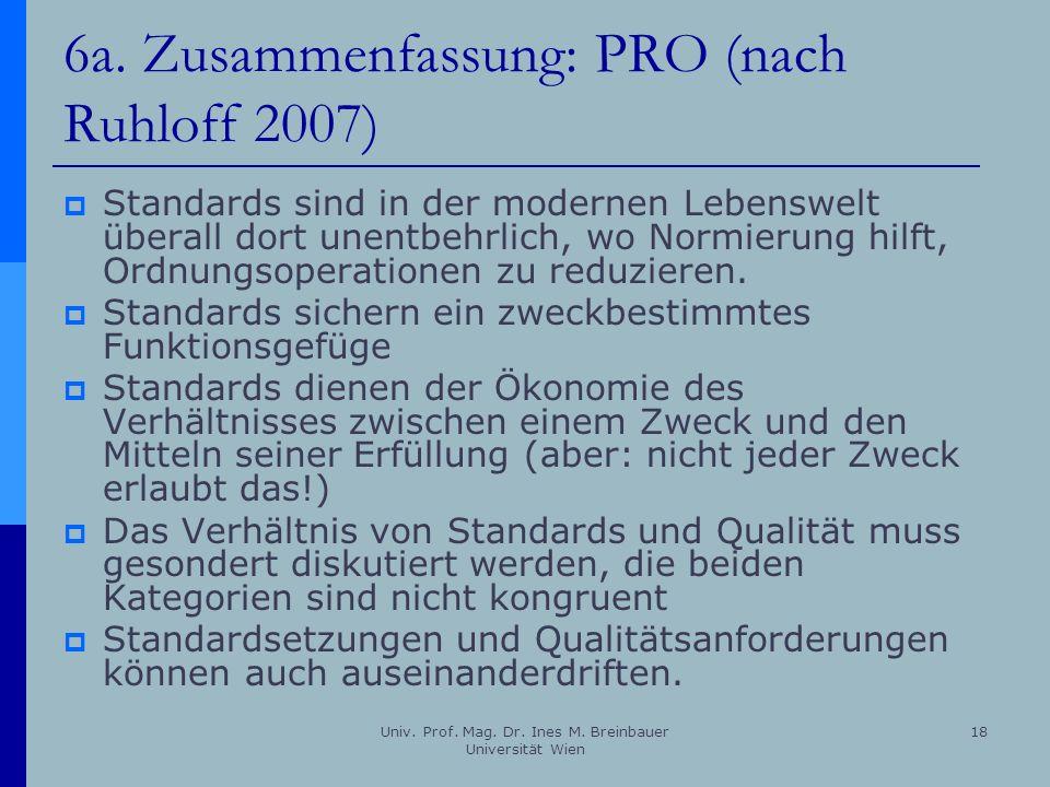 Univ. Prof. Mag. Dr. Ines M. Breinbauer Universität Wien 18 6a. Zusammenfassung: PRO (nach Ruhloff 2007) Standards sind in der modernen Lebenswelt übe