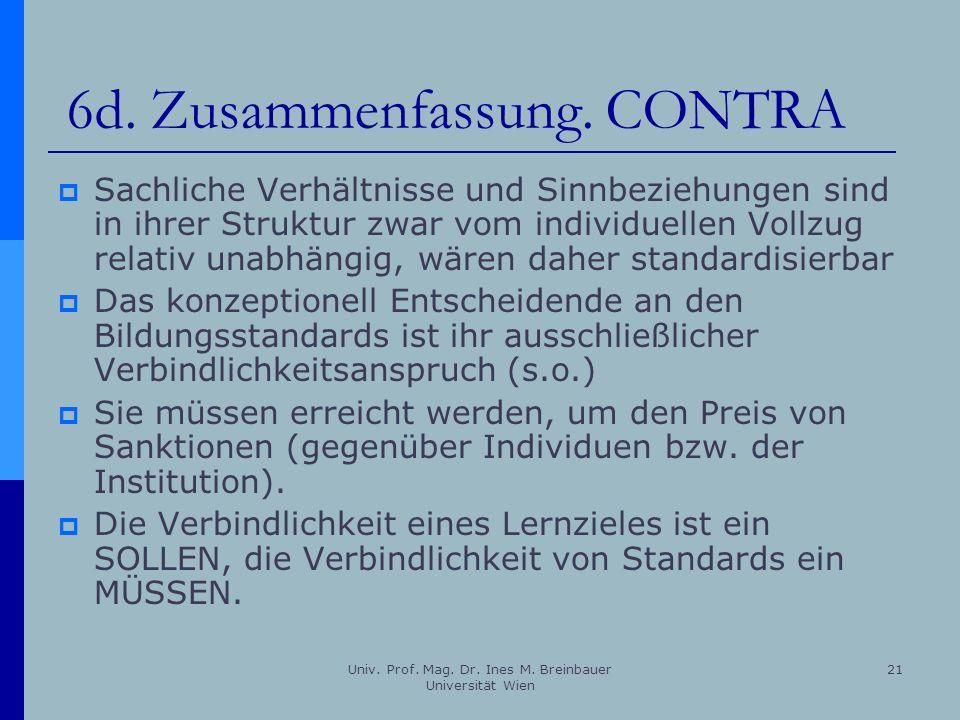 Univ. Prof. Mag. Dr. Ines M. Breinbauer Universität Wien 21 6d. Zusammenfassung. CONTRA Sachliche Verhältnisse und Sinnbeziehungen sind in ihrer Struk