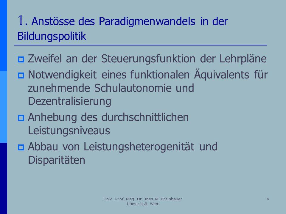 Univ. Prof. Mag. Dr. Ines M. Breinbauer Universität Wien 4 1. Anstösse des Paradigmenwandels in der Bildungspolitik Zweifel an der Steuerungsfunktion