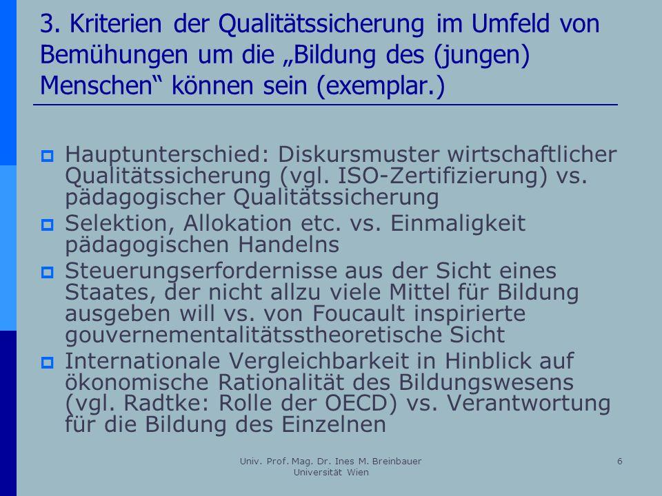 Univ. Prof. Mag. Dr. Ines M. Breinbauer Universität Wien 6 3. Kriterien der Qualitätssicherung im Umfeld von Bemühungen um die Bildung des (jungen) Me