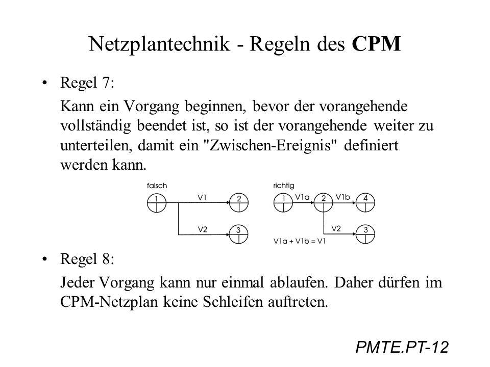 PMTE.PT-12 Netzplantechnik - Regeln des CPM Regel 7: Kann ein Vorgang beginnen, bevor der vorangehende vollständig beendet ist, so ist der vorangehend