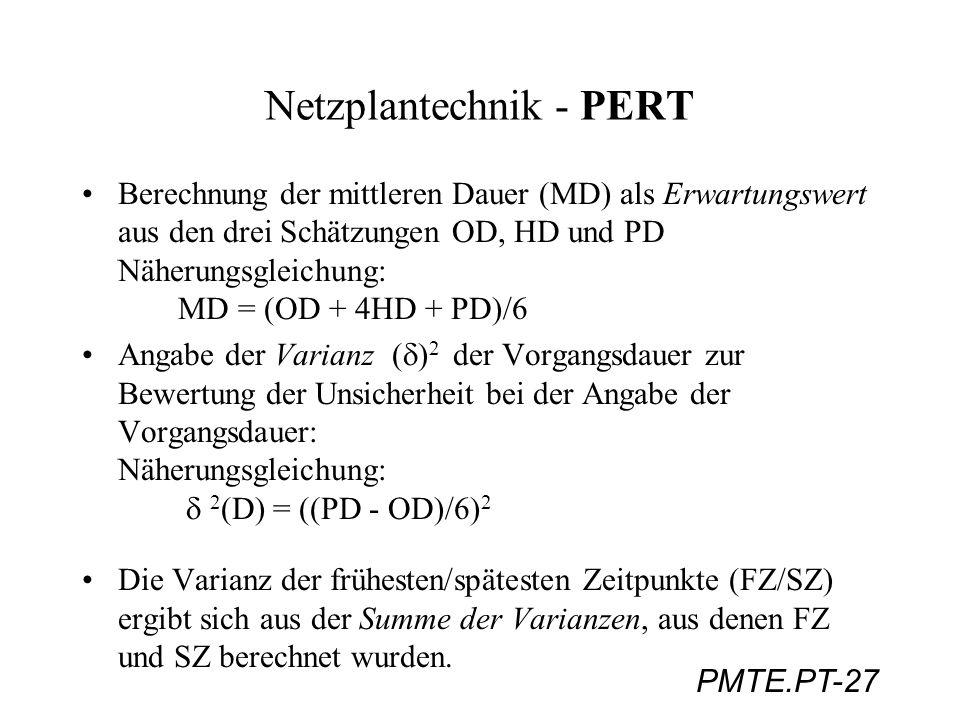PMTE.PT-27 Netzplantechnik - PERT Berechnung der mittleren Dauer (MD) als Erwartungswert aus den drei Schätzungen OD, HD und PD Näherungsgleichung: MD