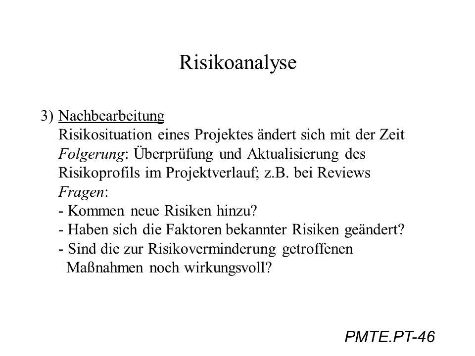 PMTE.PT-46 Risikoanalyse 3)Nachbearbeitung Risikosituation eines Projektes ändert sich mit der Zeit Folgerung: Überprüfung und Aktualisierung des Risi