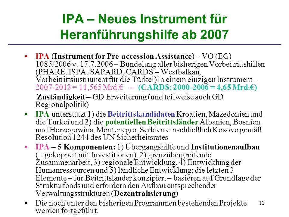 11 IPA – Neues Instrument für Heranführungshilfe ab 2007 IPA (Instrument for Pre-accession Assistance) – VO (EG) 1085/2006 v. 17.7.2006 – Bündelung al