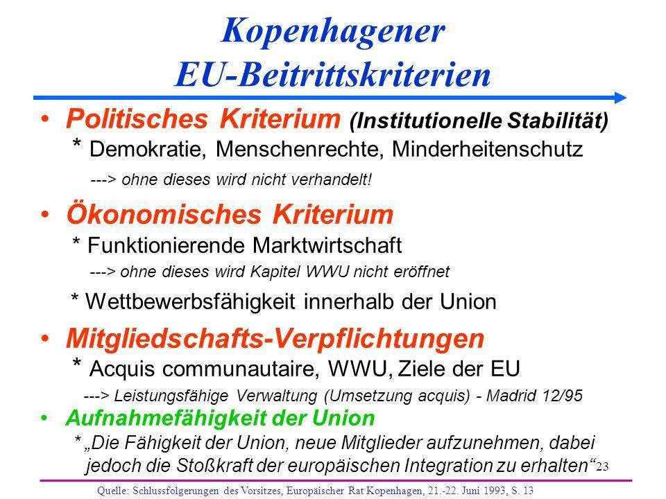 23 Kopenhagener EU-Beitrittskriterien Politisches Kriterium (Institutionelle Stabilität) * Demokratie, Menschenrechte, Minderheitenschutz ---> ohne di