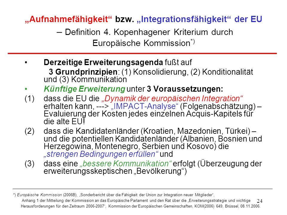 24 Aufnahmefähigkeit bzw. Integrationsfähigkeit der EU – Definition 4. Kopenhagener Kriterium durch Europäische Kommission *) Derzeitige Erweiterungsa